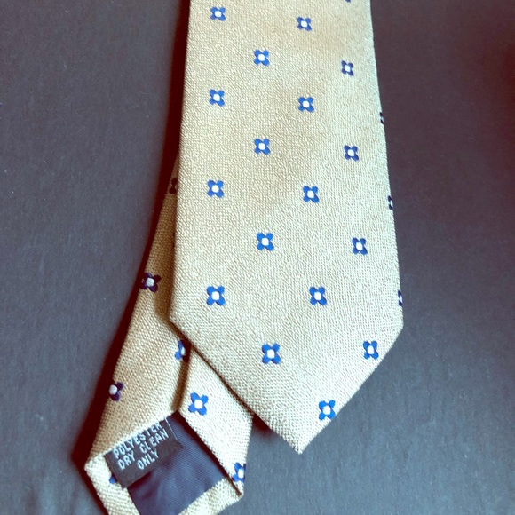 handmade Other - Men's tan and blue polyester tie